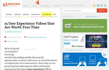 http://uxdesign.smashingmagazine.com/2010/01/05/25-user-experience-videos-that-are-worth-your-time/