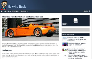 http://www.howtogeek.com/60723/desktop-fun-exotic-cars-customization-set/