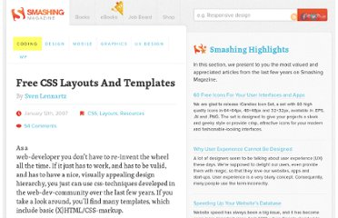 http://coding.smashingmagazine.com/2007/01/12/free-css-layouts-and-templates/