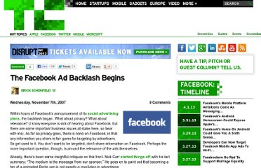http://techcrunch.com/2007/11/07/the-facebook-ad-backlash-begins/