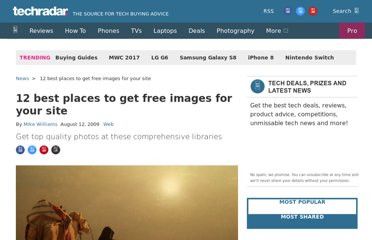 http://www.techradar.com/news/internet/web/12-best-places-to-get-free-images-for-your-site-624818