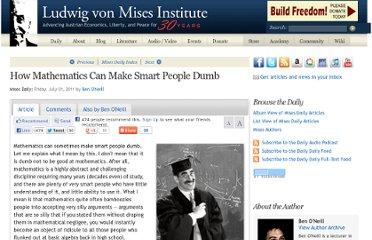 http://mises.org/daily/5413/How-Mathematics-Can-Make-Smart-People-Dumb