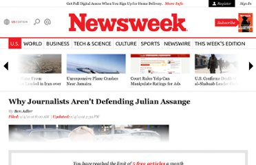 http://www.thedailybeast.com/newsweek/2011/01/04/why-journalists-aren-t-defending-julian-assange.html