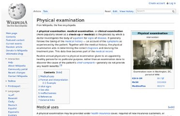 http://en.wikipedia.org/wiki/Physical_examination