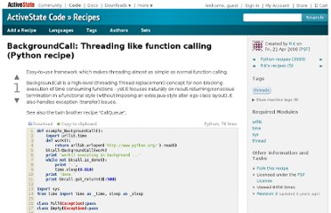 http://code.activestate.com/recipes/491280-backgroundcall-threading-like-function-calling/