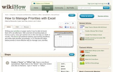 http://www.wikihow.com/Manage-Priorities-with-Excel