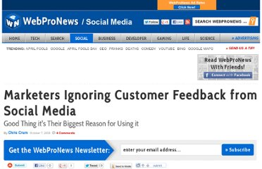 http://www.webpronews.com/marketers-ignoring-customer-feedback-from-social-media-2009-10