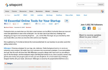 http://www.sitepoint.com/essential-online-tools-for-your-startup/