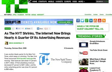 http://techcrunch.com/2009/10/22/as-the-nyt-shrinks-the-internet-now-brings-nearly-a-quarter-of-its-advertising-revenues/