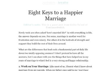 http://zenhabits.net/eight-keys-to-a-happier-marriage/