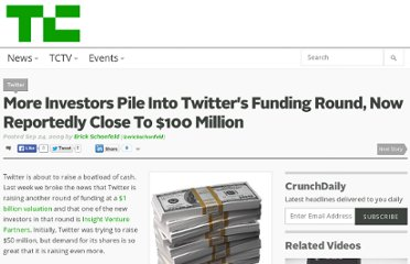 http://techcrunch.com/2009/09/24/more-investors-pile-into-twitters-funding-round-now-reportedly-close-to-100-million/