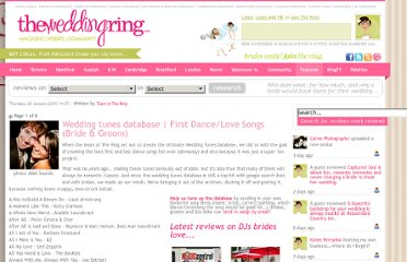 http://www.theweddingring.ca/wedding-features/featured-wedding-songs-database-love-songs-and-first-dance-songs