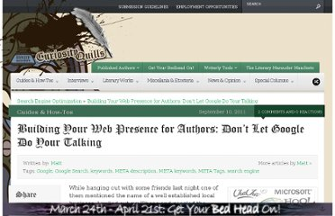 http://curiosityquills.com/building-your-web-presence-for-authors-dont-let-google-do-your-talking/