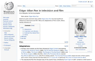 http://en.wikipedia.org/wiki/Edgar_Allan_Poe_in_television_and_film