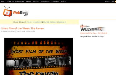 http://webbeat.tv/short-film-of-the-week-the-raven/