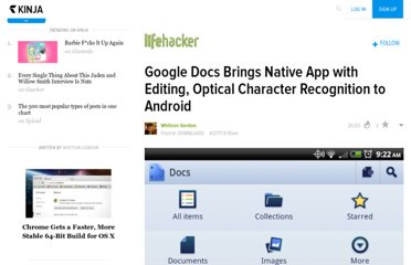 http://lifehacker.com/5796237/google-docs-brings-native-app-with-editing-optical-character-recognition-to-android