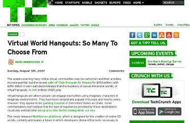 http://techcrunch.com/2007/08/05/virtual-world-hangouts-so-many-to-choose-from/