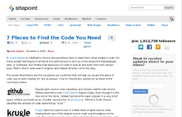 http://www.sitepoint.com/7-places-to-find-the-code-you-need/