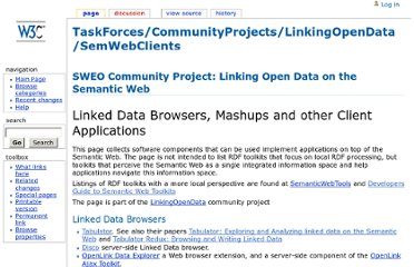 http://www.w3.org/wiki/TaskForces/CommunityProjects/LinkingOpenData/SemWebClients
