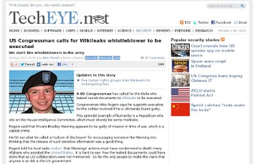 http://news.techeye.net/security/us-congressman-calls-for-wikileaks-whistleblower-to-be-executed