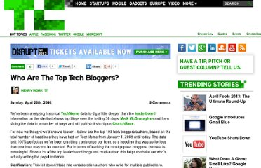http://techcrunch.com/2008/04/20/who-are-the-top-tech-bloggers/