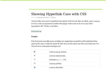 http://askthecssguy.com/articles/showing-hyperlink-cues-with-css/