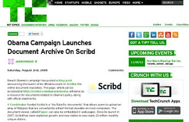 http://techcrunch.com/2008/08/02/obama-campaign-launches-document-archive-on-scribd/