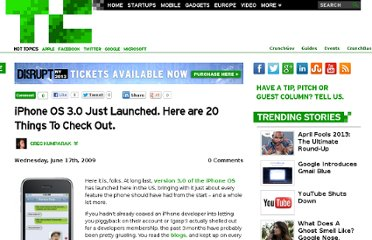 http://techcrunch.com/2009/06/17/iphone-os-30-just-launched-here-are-20-things-to-do-with-it/