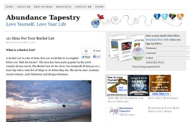 http://www.abundancetapestry.com/111-ideas-for-your-bucket-list/