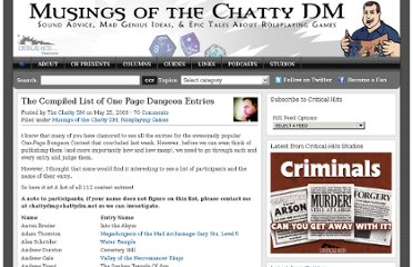http://critical-hits.com/2009/05/25/the-compiled-list-of-one-page-dungeon-entries/