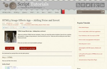 http://www.script-tutorials.com/html5-image-effects-app-adding-noise-and-invert/