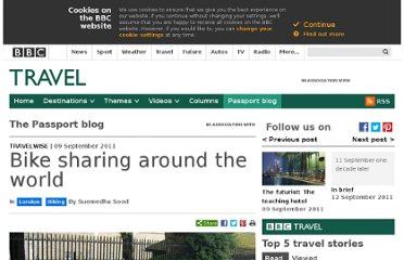 http://www.bbc.com/travel/blog/20110909-travelwise-bike-sharing-around-the-world