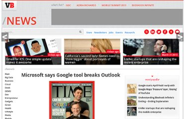 http://venturebeat.com/2009/06/17/microsoft-says-google-tool-breaks-outlook/