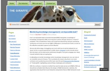 http://thegiraffe.wordpress.com/2009/12/17/monitoring-knowledge-management-an-impossible-task/