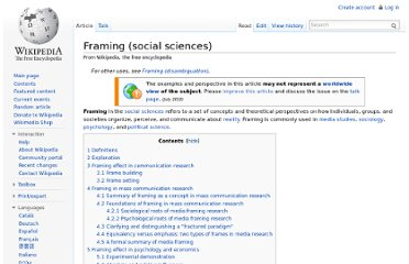 http://en.wikipedia.org/wiki/Framing_(social_sciences)