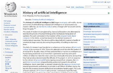 http://en.wikipedia.org/wiki/History_of_artificial_intelligence