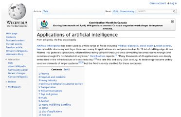 http://en.wikipedia.org/wiki/Applications_of_artificial_intelligence