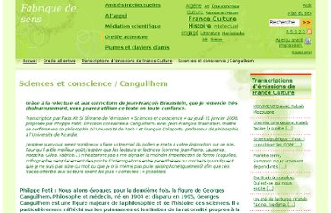 http://www.fabriquedesens.net/Sciences-et-conscience-Canguilhem