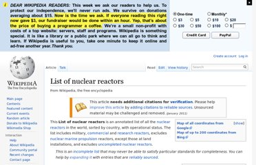 http://en.wikipedia.org/wiki/List_of_nuclear_reactors