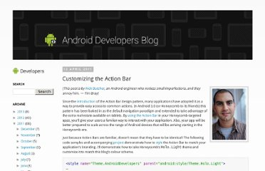 http://android-developers.blogspot.com/2011/04/customizing-action-bar.html