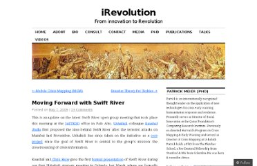 http://irevolution.net/2009/05/07/moving-forward-with-swift-river/
