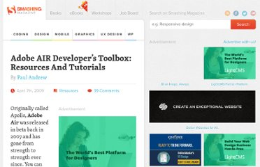 http://coding.smashingmagazine.com/2009/04/07/adobe-air-developers-toolbox-resources-and-tutorials/