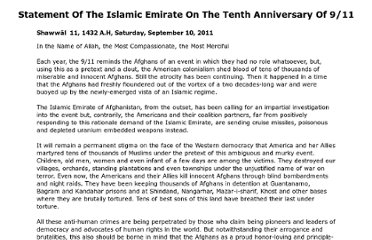 http://theunjustmedia.com/Afghanistan/Statements/sep11/Statement%20of%20the%20Islamic%20Emirate%20on%20the%20Tenth%20Anniversary%20of%209-11.htm