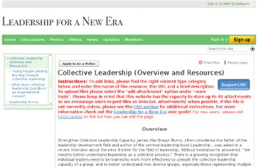 http://www.leadershipforanewera.org/page/Collective+Leadership+%28Overview+and+Resources%29