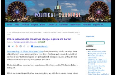http://thepoliticalcarnival.net/2011/04/21/u-s-mexico-border-crossings-plunge-agents-are-bored/