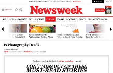 http://www.thedailybeast.com/newsweek/2007/12/01/is-photography-dead.html