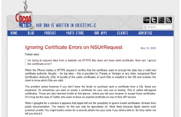 http://www.cocoanetics.com/2009/11/ignoring-certificate-errors-on-nsurlrequest/