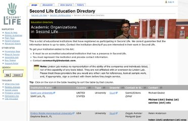 http://wiki.secondlife.com/wiki/Second_Life_Education_Directory