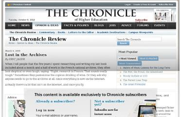 http://chronicle.com/article/Lost-in-the-Archives/27002