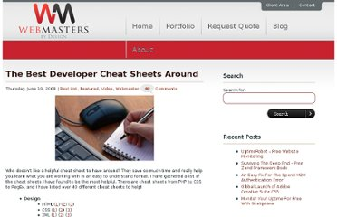 http://www.webmastersbydesign.com/2008/06/the-best-developer-cheat-sheets-around/
